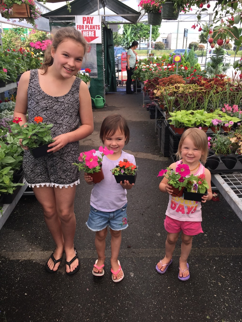 Nursery - Kids Holding Flowers - Muldoon Greenhouses - Ralphs Farm Market, Langley BC