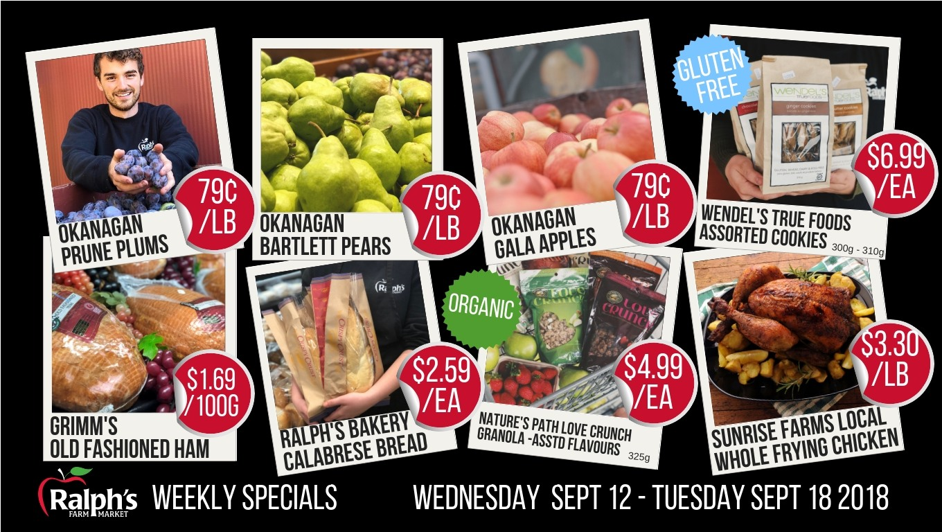 Ralph's Farm Market Weekly Specials Sept 12 2018